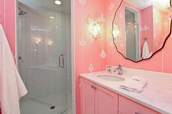 Розовая ванная комната фото